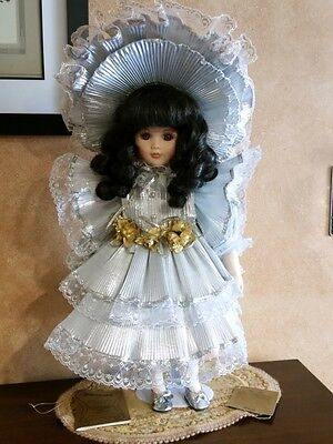 """18"""" Porcelain Hand Painted Doll - """"Silver Caroline"""" by Seymour Mann"""