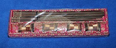 Set of 4 Chopsticks with rests - wood inlay - new and still in original wrapper