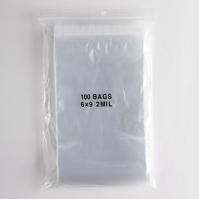 100 Large Ziplock Bags 6x9 Clear Plastic 2 mil Zip Lock Storage Bag Baggies