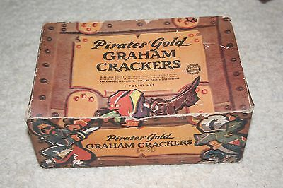 Antique / Vintage Pirates' 1lb Gold Graham Crackers Box - EMPTY