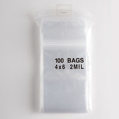 100 Ziplock Bags 4x6 Clear Plastic 2 mil Zip Lock Storage Bag Baggies