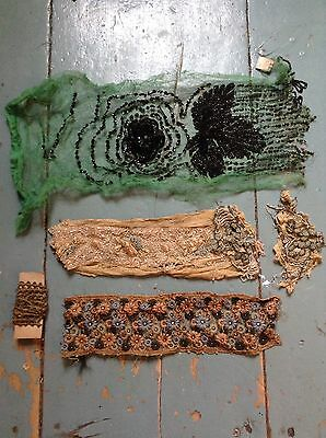 Antique sequin embroidered Beaded trim Vintage Lace Gold Thread