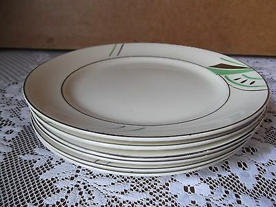 Vintage Art Deco - Hand Painted Green & Silver - Set of Tea / Side Plates - 6