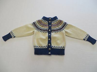 Excellent Vintage Hand Knitted Small Childs Sweater Knud Of Denmark 100% Wool