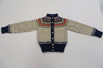 Excellent Vintage Hand Knitted Small Childs Sweater Denmark 100% Wool
