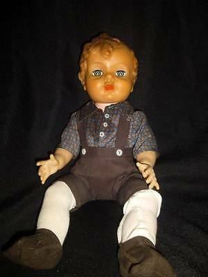 "HORSMAN VTG 17"" Boy Doll with original clothes Molded hair"