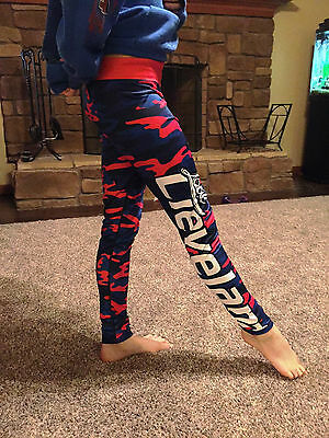 Girls Cleveland Indians Baseball Fitted Xlusion Camo Leggings NIP Size Small