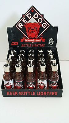 RED DOG BEER Plank Road Brewery 1996 DISPLAY OF 20 Working BOTTLE LIGHTERS New
