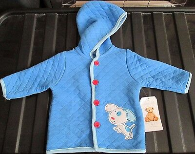 Baby Boy Rene Rofe Blue Quilted Hooded Jacket - Age 6-9 Months - New With Tags