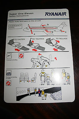 Safety Card Ryanair Bac 1-11-500 Super One Eleven