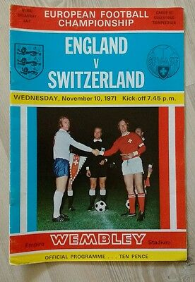 England v Switzerland season 1971-1972