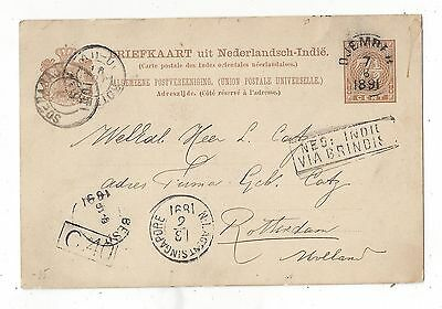 Netherlands Indies 1891 Postal Card Cover to Nethelands, Great Range of Markings