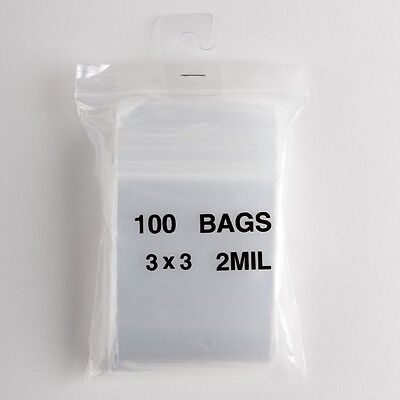 100 Small Ziplock Bags 3x3 Clear Plastic 2 mil Zip Lock Storage Bag Baggies