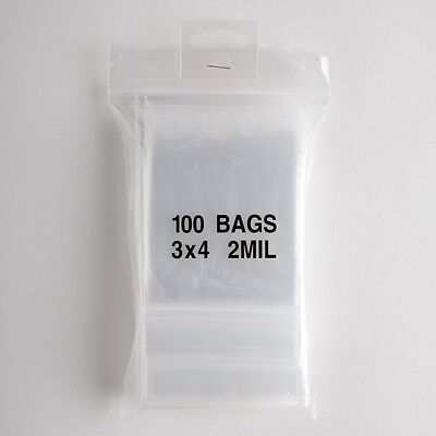 100 Small Ziplock Bags 3x4 Clear Plastic 2 mil Zip Lock Storage Bag Baggies