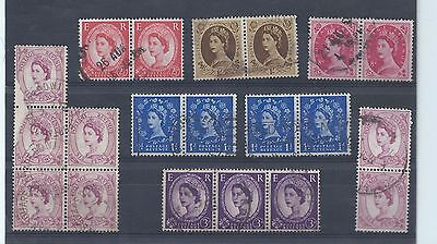GB stamps. Used QEII Wildings. Block of 5 6d & some pairs & a triple 3d   (T252)