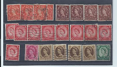 GB stamps. QEII Wildings used. Nearly all Tudor Crown ?  (T216)
