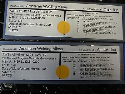 """American Welding Alloys - 2% Thoriated Tungsten Electrode - 5/32"""" X 7"""" - 20 Each"""