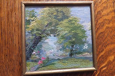 Vintage small 1934 needlepoint / tapestry. (  a bit of the garden ) signed