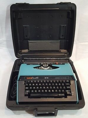 Vintage Blue Typewriter Brother Cassette 815 CORRECT-O-RITER W/Hardcase + Ribbon
