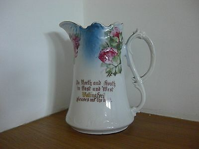 Vintage Jug .. Turquoise & Roses .. Decorative Piece
