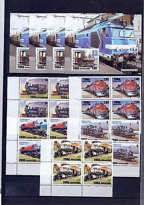 2005 Locomotoras, Locomotives, Block of 4+ 4 Sheets,  MINT
