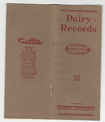 Vintage Advertising - DAIRY RECORDS BOOKLET Fairmont Creamery Co. FARMING COWS