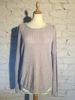 Ladies Light Grey Monsoon Knitted Top Jumper Size Uk14 Eu42