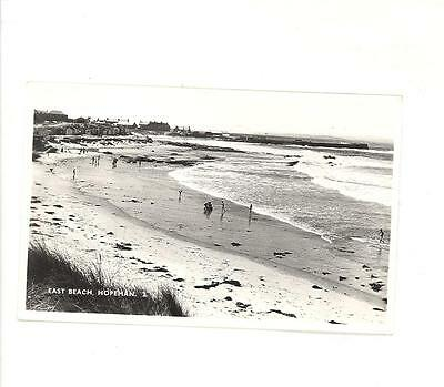 East Beach Hopeman Moray Scotland  Real Photo Postcard Freedom From Hunger Stamp