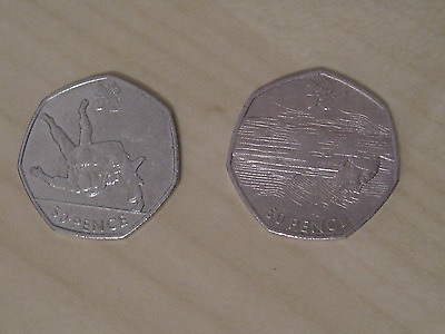 50p Fifty Pence LONDON OLYMPICS SET OF TWO - JUDO and SWIMMING - Circulated
