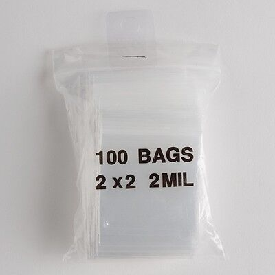 100 Small Ziplock Bags 2X2 Clear Plastic 2 mil Zip Lock Jewelry Bag Baggies