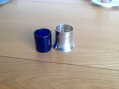 Silver Plated Salt Pot With Blue Glass Liner