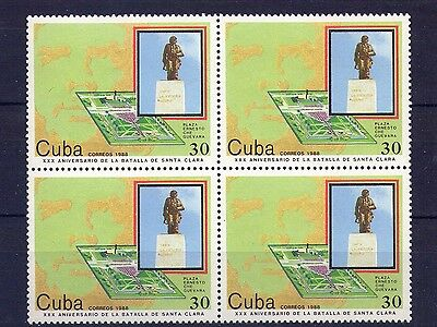 "1986,  Block of 4, "" BATALLA DE SANTA CLARA, CHE "" MINT"