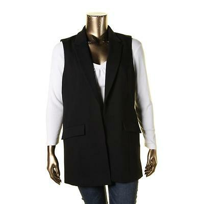 Charter Club 6082 Womens Black Stretch Open Front Casual Vest 14 BHFO