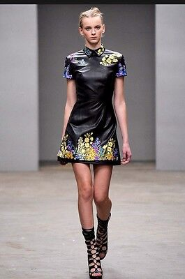New Women's Christopher Kane Black Leather Floral Embroidered Minidress Size 6