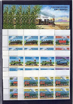 GUINEA 1997 Block of 6+ 6 Sheets, Locomotoras, Locomotives ANCIENNES, ,  MINT
