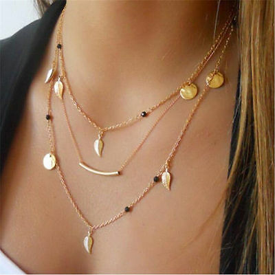 Women Charm Multi-layer Chain Choker Statement Bib Pendant Necklace Jewelry