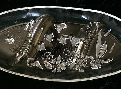 Divided Relish Dish Embossed And Frosted Wildflowers With Clover Three Sections