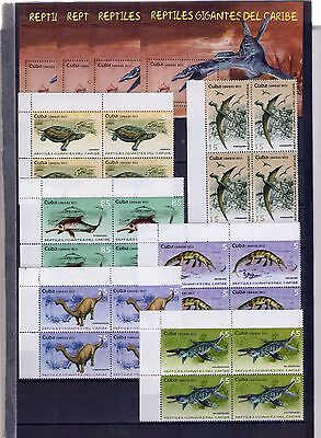"2013, Block of 4 +4 sheets ""PREHISTORIC ANIMALS, LARGE REPTILES OF THE CARIBBEA"""