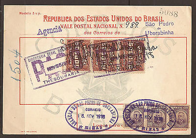 Brazil. 1918. Money Order. Revenues And Postage Stamps Applied.