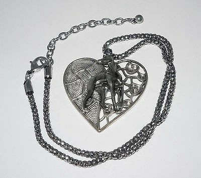 Pewter Heart Pendant w Pewter Looking Back Greyhound Dog, Antique SP Necklace