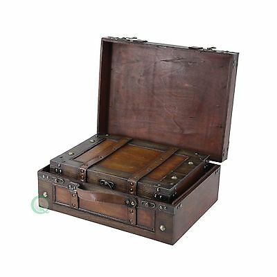 Vintiquewise Old Style Suitcase/Decorative Box with Stripes Set of 2 Set of two