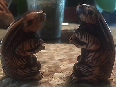 19th c Exquisite antique China's wucai pair ivory Rabbits handmade wood