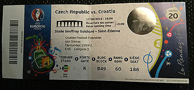 Sammler Ticket Used UEFA EURO 2016 #20 Czech Rep. - Croatia Hrvatska (one fold)