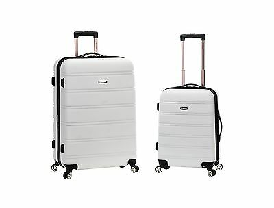 ROCKLAND 20 Inch 28 Inch 2PC Expandable ABS Spinner Set White One Size