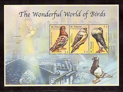 St.vincent & The Grenadines 2000 #2838 S/s Of 3 Stamps Mint Nh, Birds !!