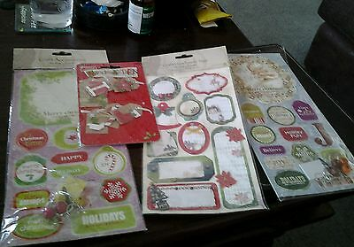 Xmas craft tags die cuts and stickers job lot card making
