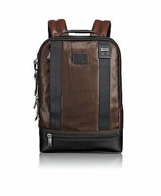 Tumi Alpha Bravo Dover Leather Backpack Dark Brown One Size