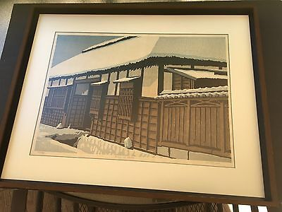 Signed numbered TED COLYER framed Japanese Woodblock Print FUYU NO ARUHI