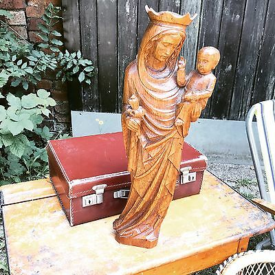 Vintage Madonna and Child Wooden Statue Carved