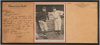 Walter Johnson Dazzy Vance Signed Auto Autograph Letter Display